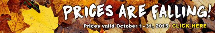 Prices Are Falling. Sale valid October 1-31.